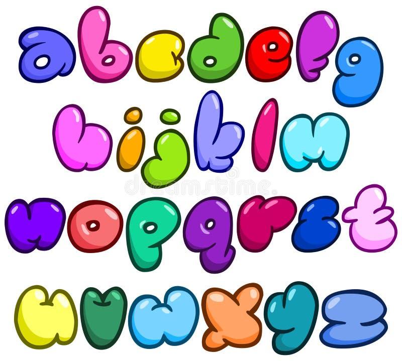 Komiskt bubblalowercasealfabet stock illustrationer