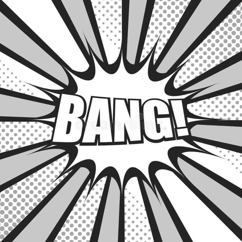 Komiskt explosivt monokromt begrepp stock illustrationer