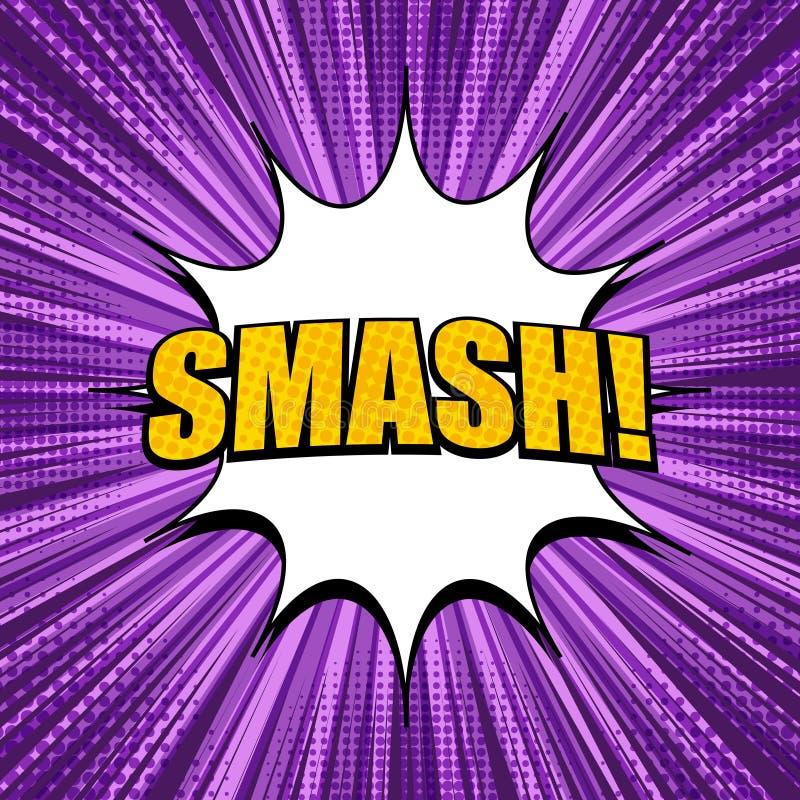 Komiskt explosivt tänder - den purpurfärgade mallen stock illustrationer