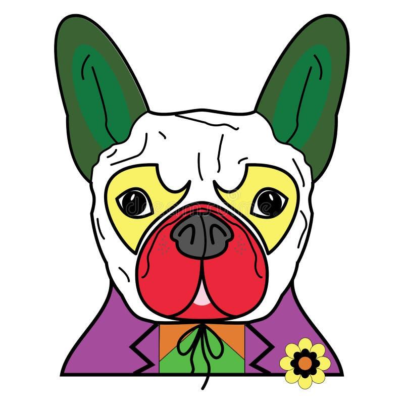 Komiskt rackaresymbol i färgrik jokerdräkt med som ett tecken för fransk bulldogg stock illustrationer
