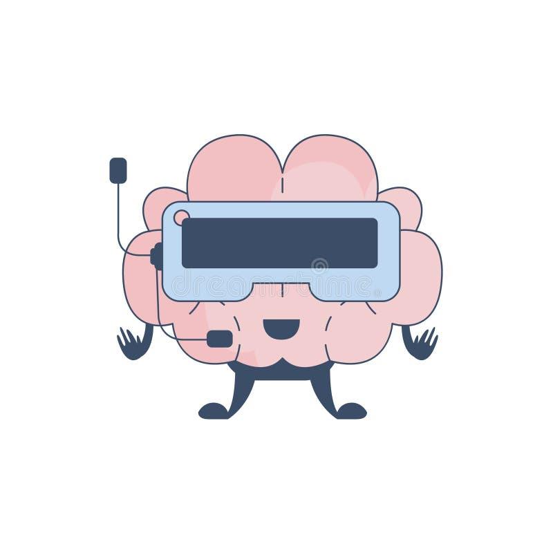 Komiskt tecken för Brain Playing Virtual verklighetvideospel som föreställer intellekt- och intellektuellaktiviteter av människan royaltyfri illustrationer