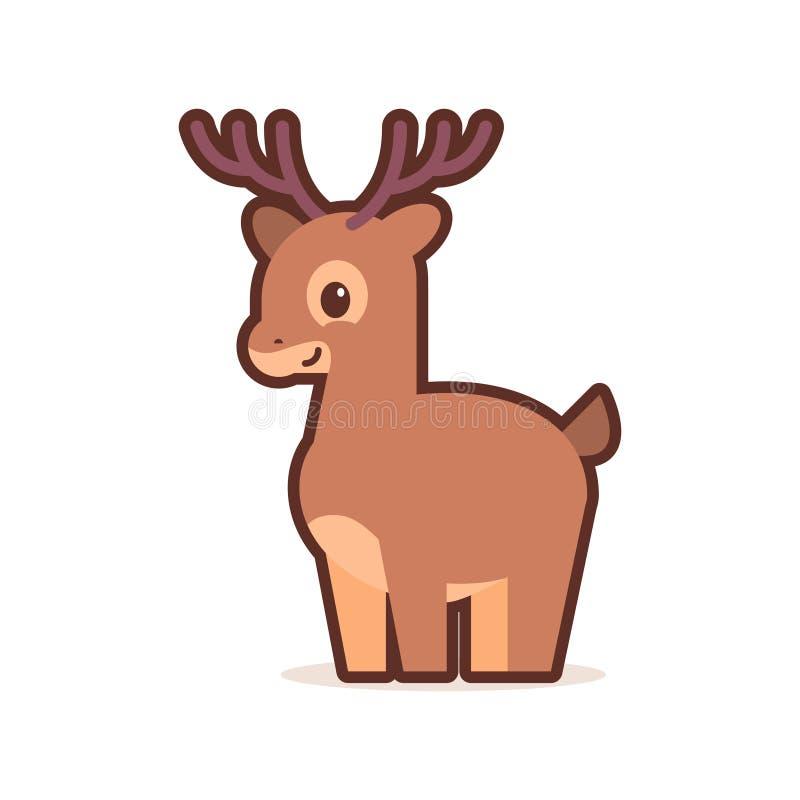 Komiskt tecken för gullig liten hjorttecknad film med att le för emojianime för framsida roliga djur för lycklig stil för kawaii  vektor illustrationer
