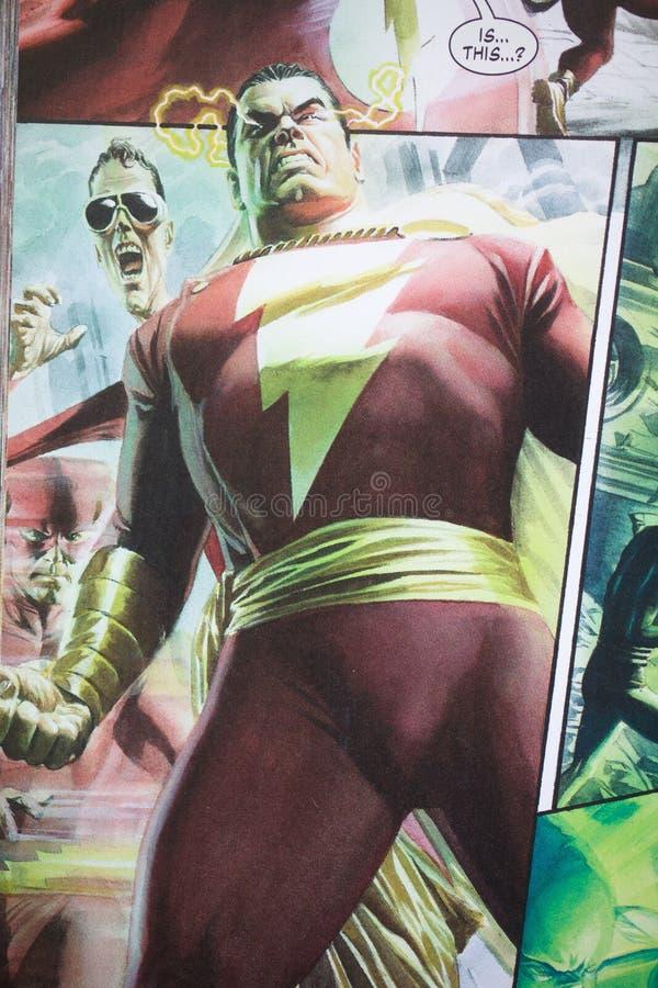 Komiskt tecken f?r Shazam superhero royaltyfria foton