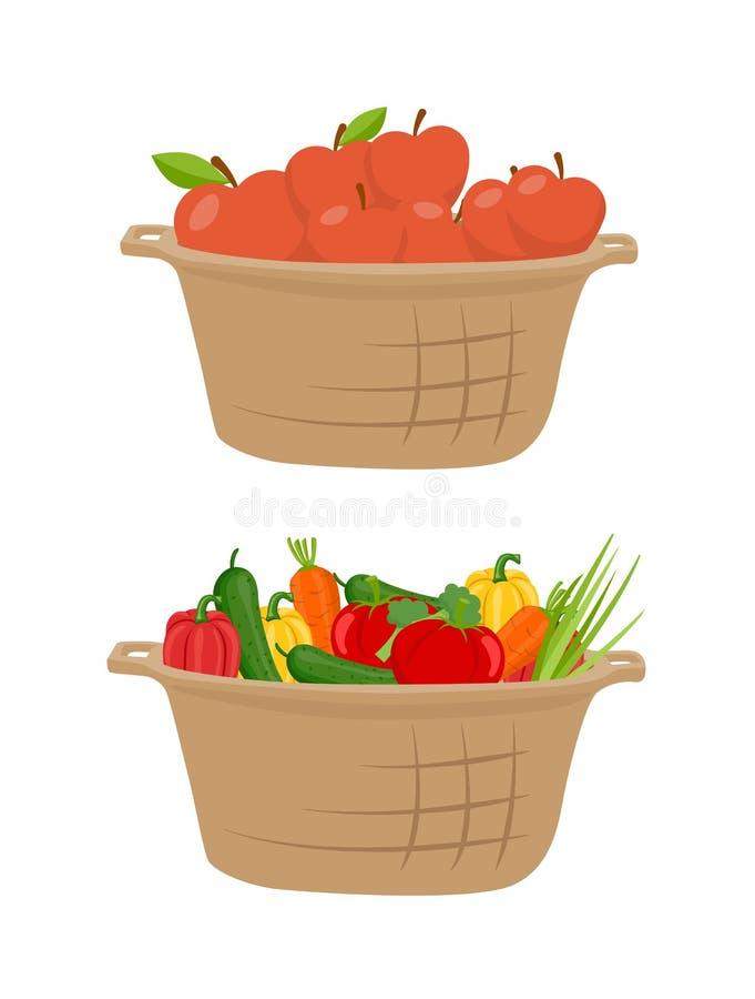 Komkommer en Appelen in Mand Vectorillustratie stock illustratie