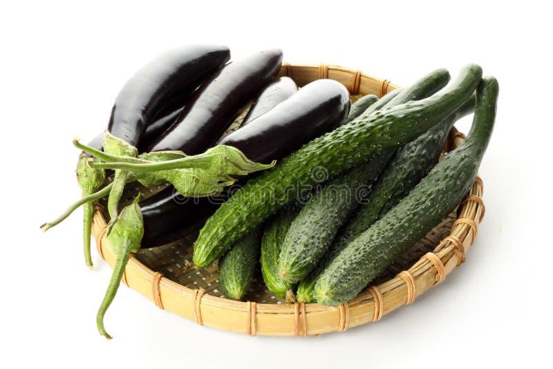 Komkommer en aubergine stock afbeeldingen