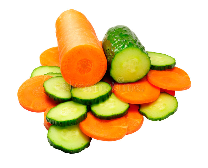 Komkommer en wortel royalty-vrije stock foto's