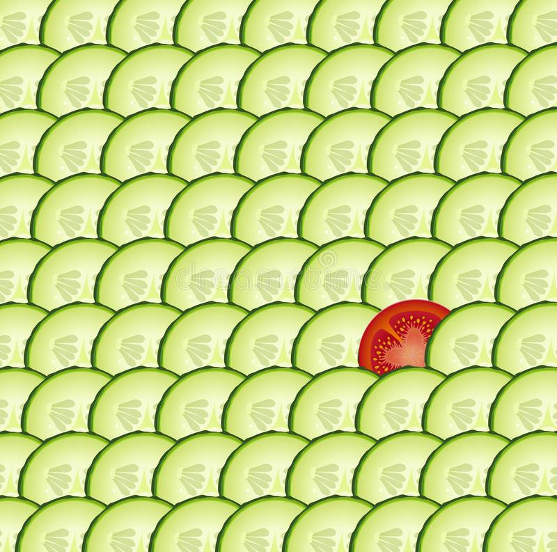 Komkommer geweven achtergrond met één plak van tomaat, speciale groente, vector illustratie