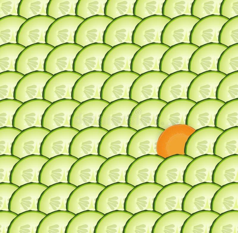 Komkommer geweven achtergrond met één plak van wortel, speciale groente, vector illustratie