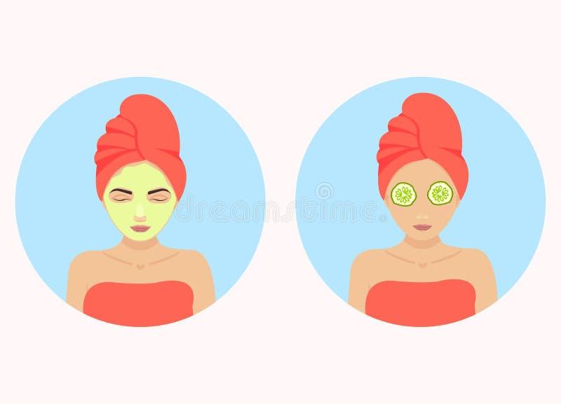 Komkommer gezichtsmasker stock illustratie