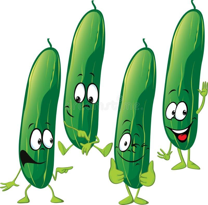 Komkommer - grappig vectorbeeldverhaal vector illustratie