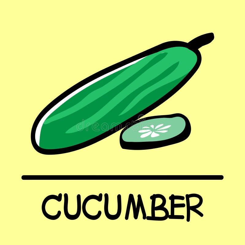 Komkommer hand-drawn stijl royalty-vrije illustratie