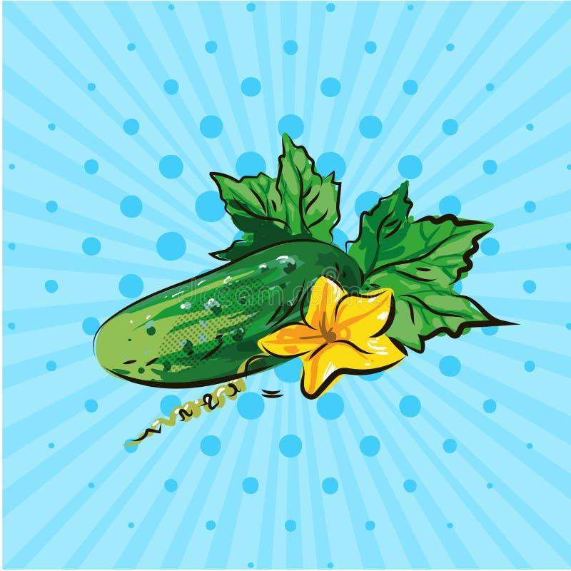 Komkommer met gele bloem op een blauwe achtergrond Vector illustratie Hand op stijlpop-art dat wordt getrokken stock illustratie