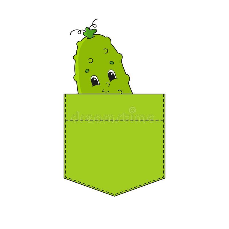 Komkommer in overhemdszak Leuk karakter Kleurrijke vectorillustratie De stijl van het beeldverhaal Ge?soleerdj op witte achtergro royalty-vrije illustratie