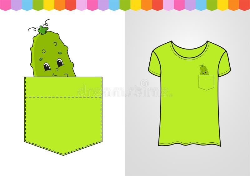 Komkommer in overhemdszak Leuk karakter Kleurrijke vectorillustratie De stijl van het beeldverhaal Ge?soleerdj op witte achtergro vector illustratie