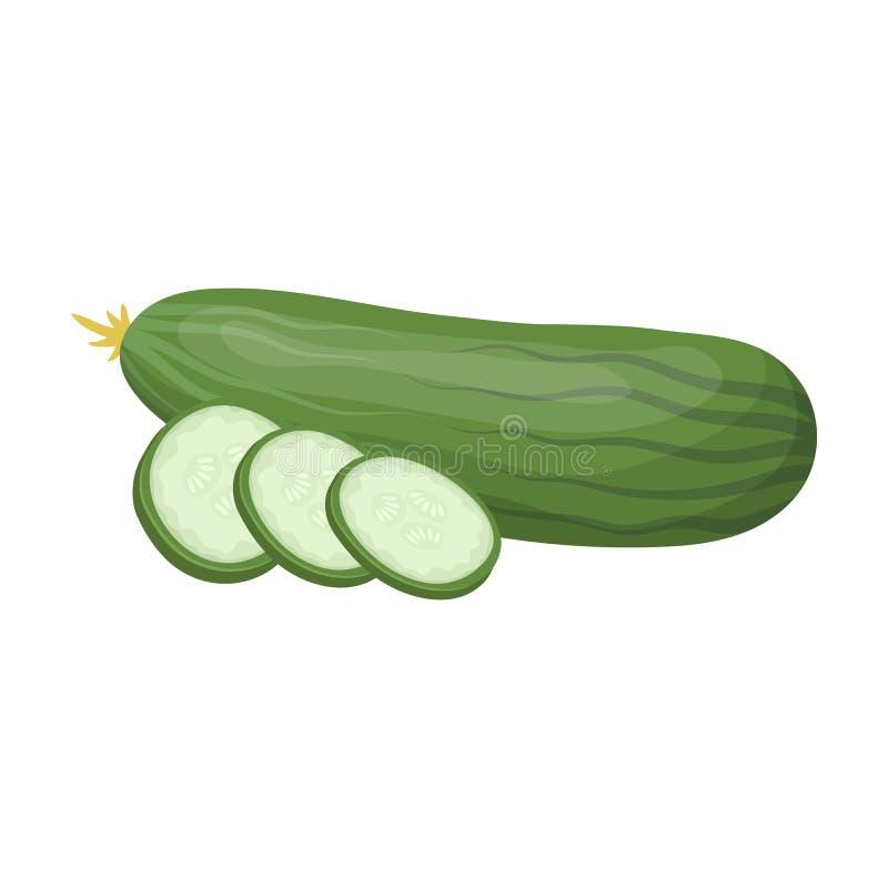 Komkommer in stukken wordt gesneden dat Burgers en de ingrediënten kiezen pictogram in illustratie van de het symboolvoorraad van royalty-vrije illustratie