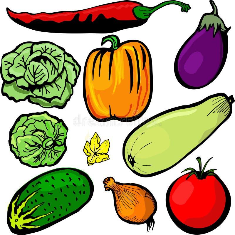 Komkommer, tomaat, peper op een witte achtergrond royalty-vrije illustratie