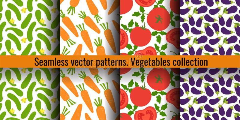 Komkommer, wortel, tomaat en aubergine Reeks van het groenten de naadloze patroon Manierontwerp Voedseldruk voor gordijn Hand get vector illustratie