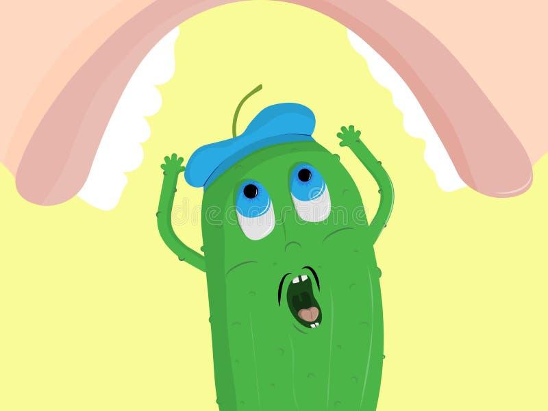 Komkommerkarakter met een bang gemaakt gezicht vector illustratie