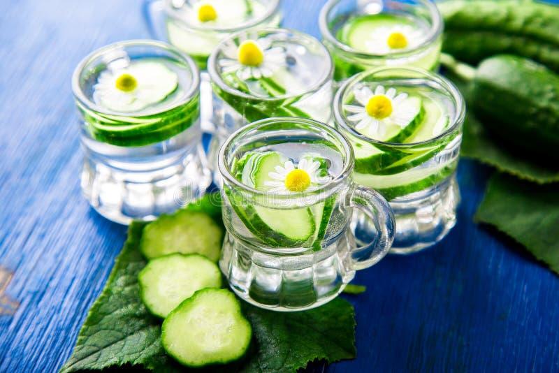 Komkommerwater in zes de kleine kruik van het metselaarglas op blauwe achtergrond rustic detox royalty-vrije stock foto's