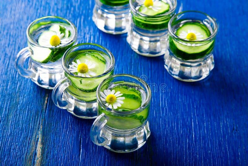 Komkommerwater in zes de kleine kruik van het metselaarglas op blauwe achtergrond rustic detox stock fotografie