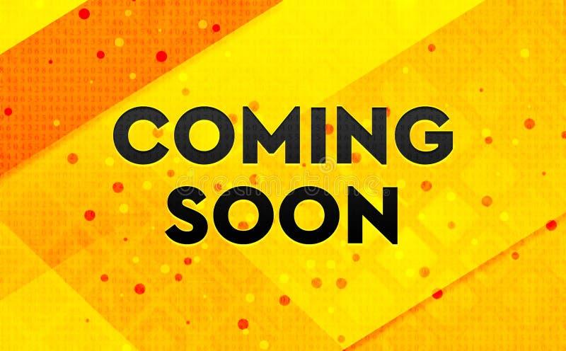Komma gul bakgrund för snart abstrakt digitalt baner royaltyfri illustrationer