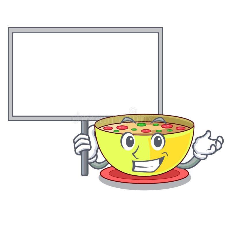 Komma med brädehavretjock skaldjurssoppa i en tecknad filmbunke stock illustrationer