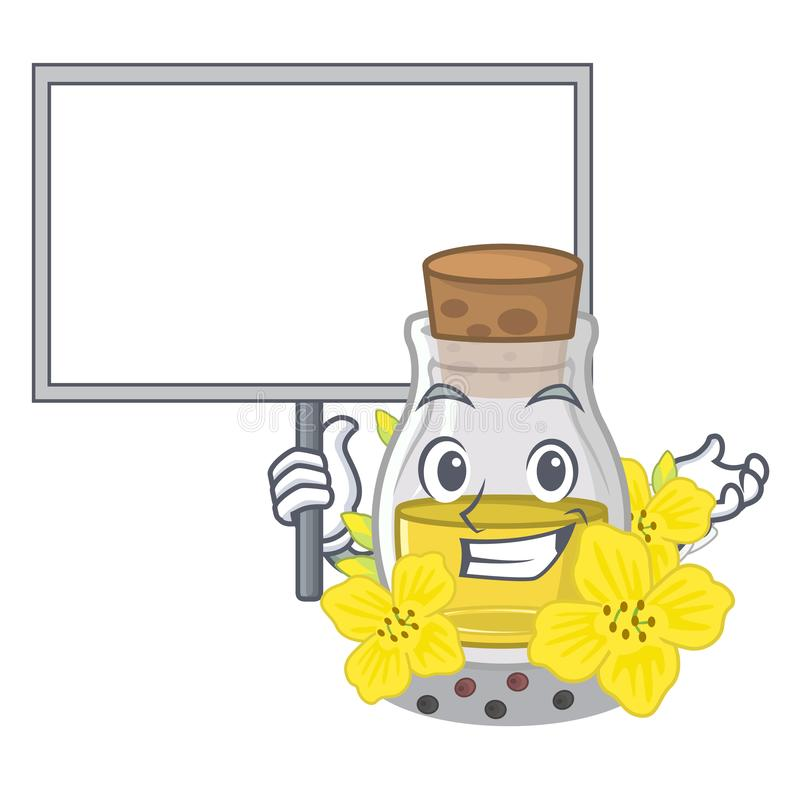 Komma med brädet som canola kärnar ur olja som isoleras i maskot vektor illustrationer