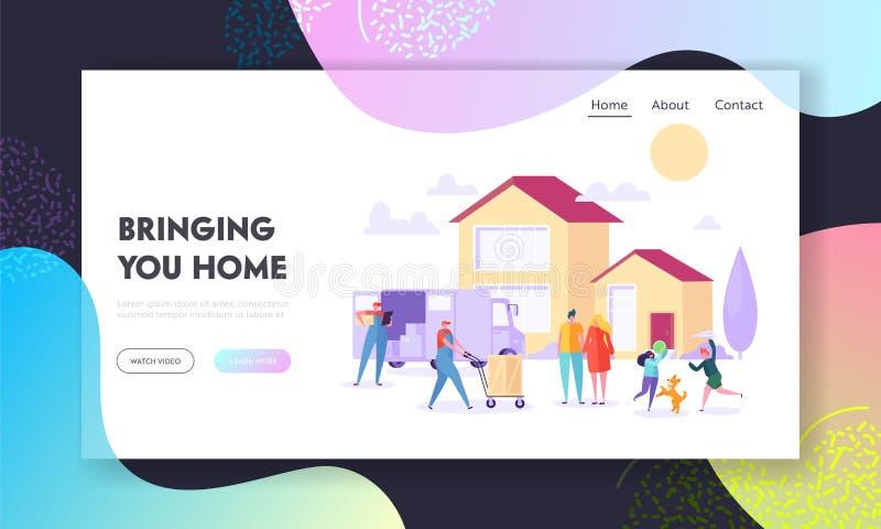 Komma med hemmet som landar sidan Stor hushållgoda för tillförsel med packeleveranslastbilen från producent till det bostads- hus vektor illustrationer