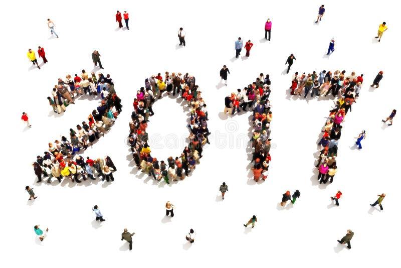 Komma med i det nya året Stor grupp människor i formen av 2017 som firar nya framtida mål för år eller och tillväxtbegreppsnolla vektor illustrationer