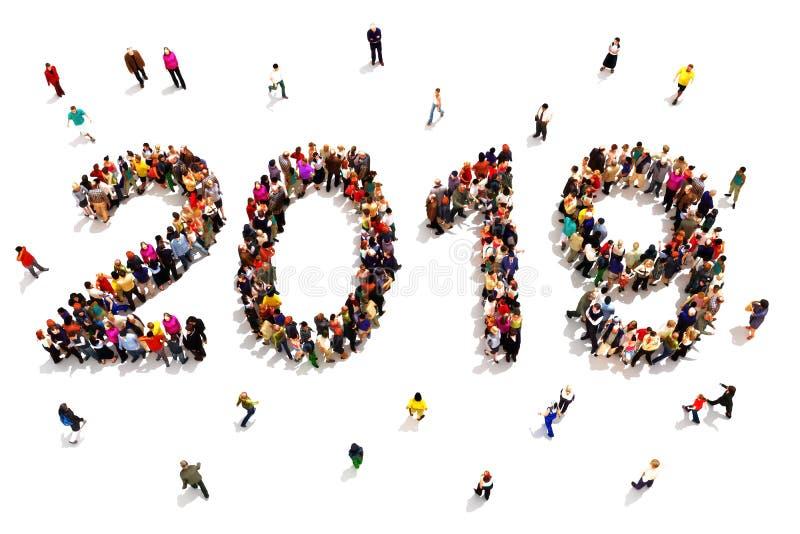 Komma med i det nya året Stor grupp människor som bildar formen av 2019 som firar ett begrepp för nytt år på en vit bakgrund stock illustrationer