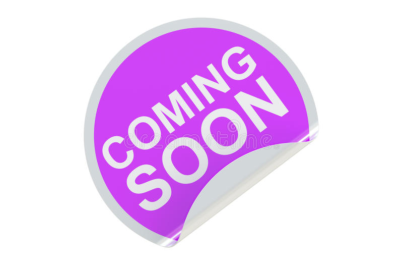 Komma snart cirkelklistermärke-, försäljnings- och rabattbegrepp 3d framför vektor illustrationer
