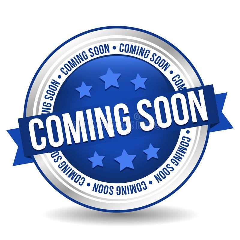 Komma snart emblem - online-knapp - baner med bandet royaltyfri illustrationer