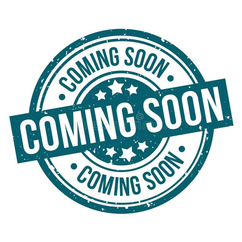 Komma snart för grungestämpel för runda blått emblem stock illustrationer