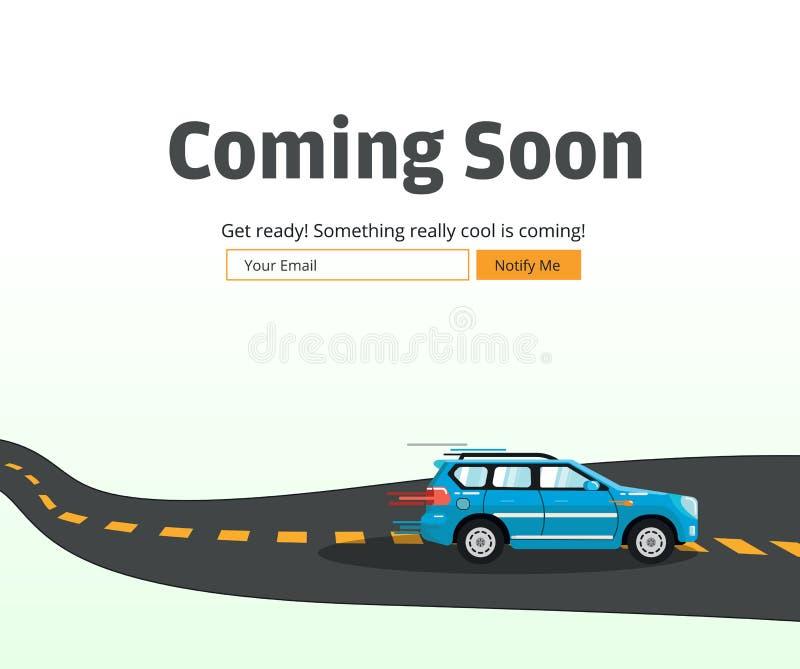 Komma snart Websitemall Komma landa snart sidadesign stock illustrationer