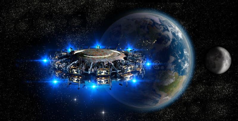 Kommande jord för främmande ufo stock illustrationer