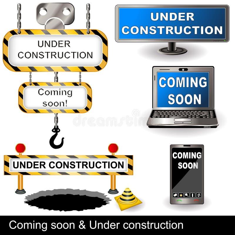 kommande konstruktion snart under royaltyfri illustrationer