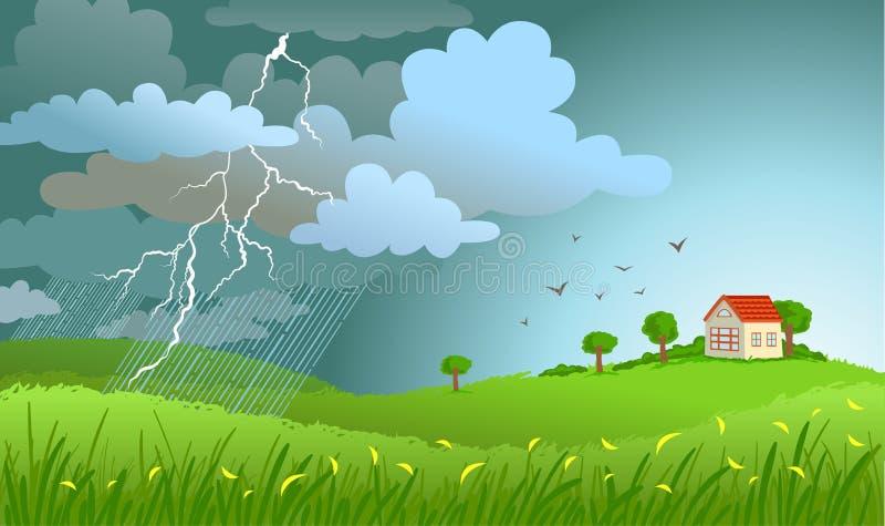 kommande storm vektor illustrationer