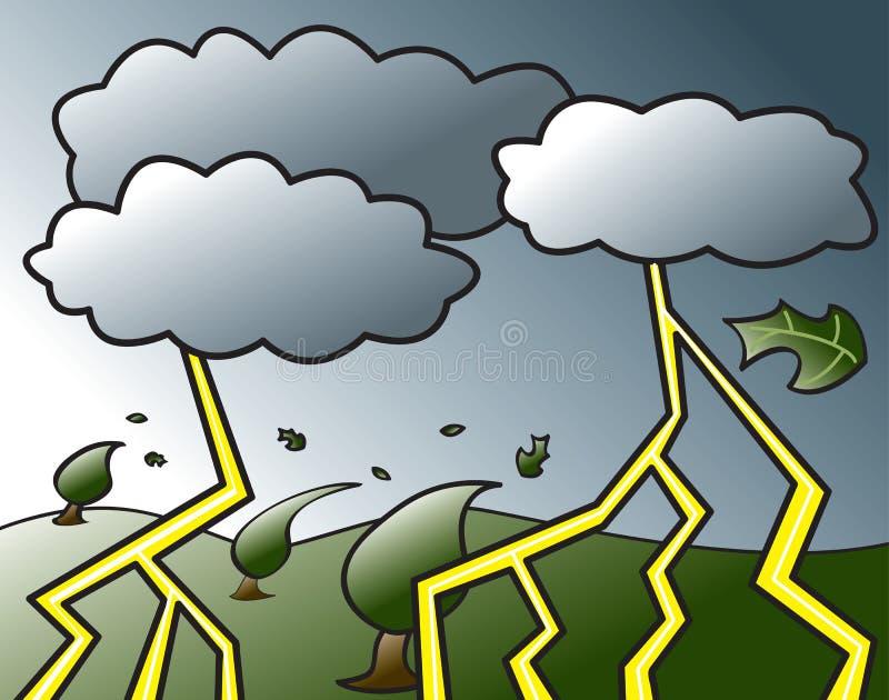 kommande thunderstorm royaltyfri illustrationer