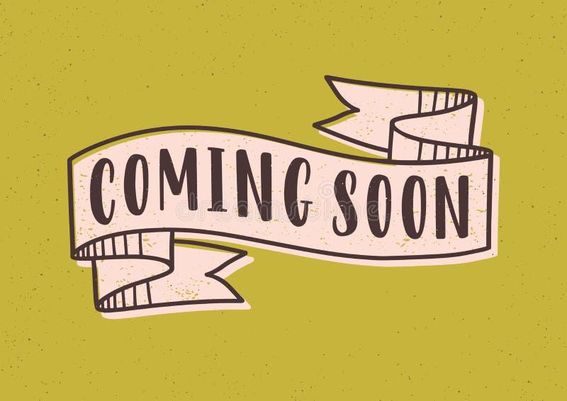 Kommen bald Brief oder Aufschrift geschrieben mit modernem Guss auf elegantes Band oder Band lokalisiert auf gelben Hintergrund stock abbildung