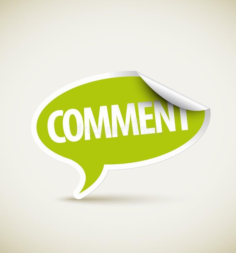 Kommentar - Spracheluftblase als Nadelanzeige stock abbildung
