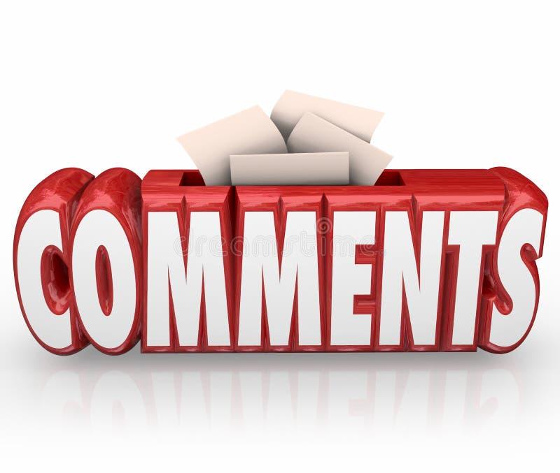 Kommentare senden Ideen-Vorschlags-Wort-Kasten-Feedback-Berichte vektor abbildung
