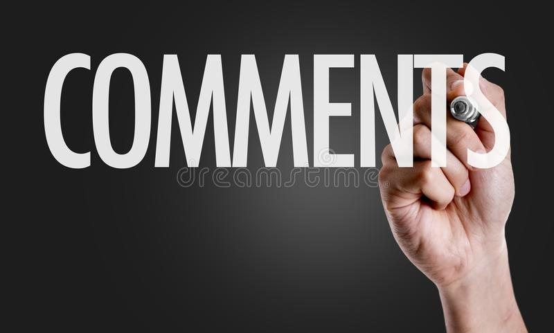 Kommentare zu einem Begriffsbild stockfoto