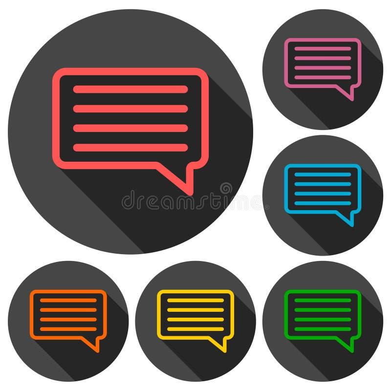 Kommentarsymbol med lång skugga royaltyfri illustrationer