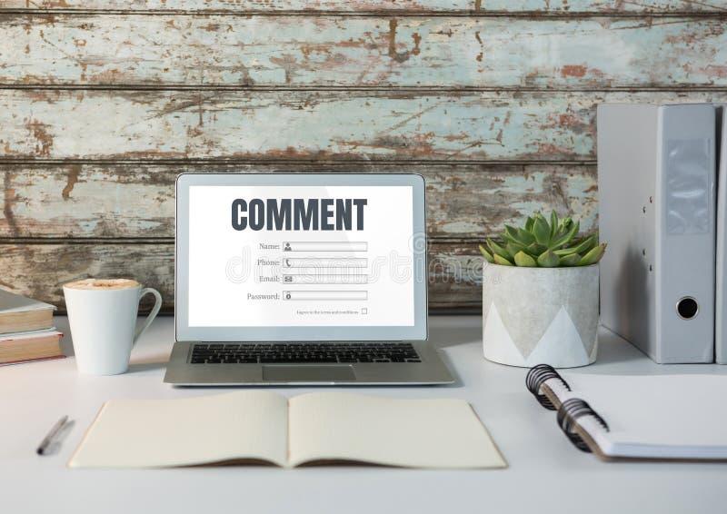 Kommentartext und -graphik auf Laptopschirm vektor abbildung