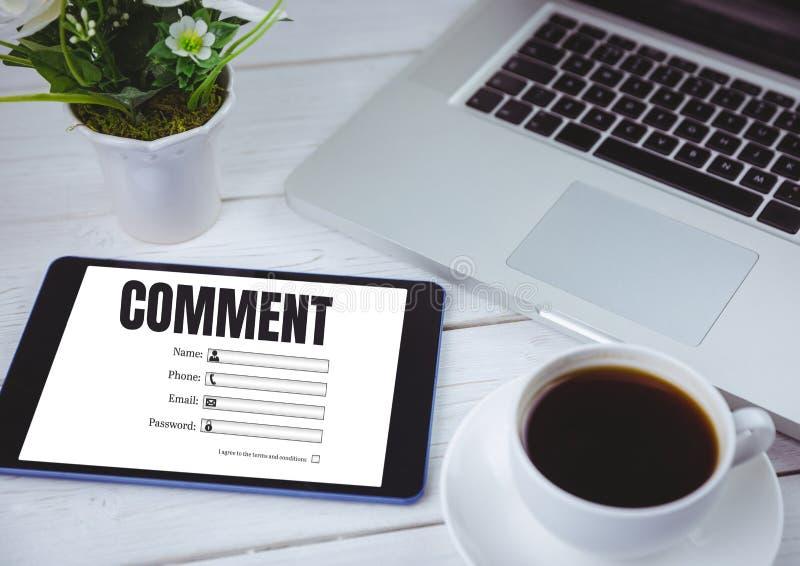 Kommentartext und -graphik auf Tablettenschirm stock abbildung