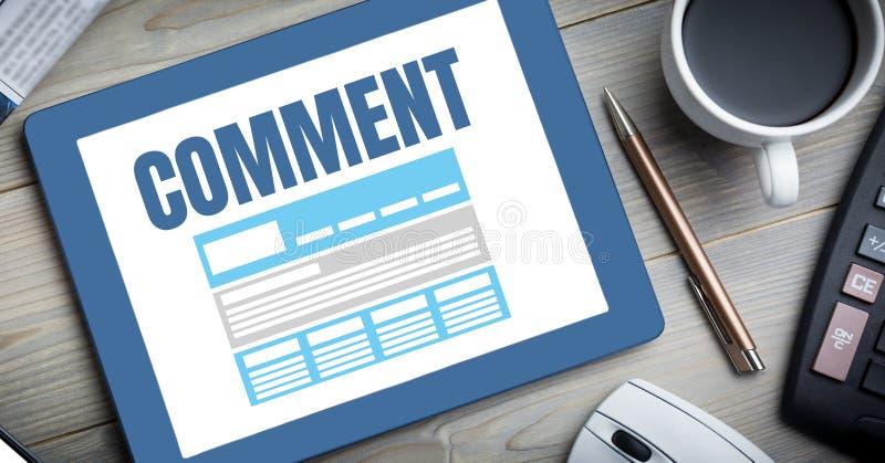 Kommentartext und -graphik auf Tablettenschirm vektor abbildung