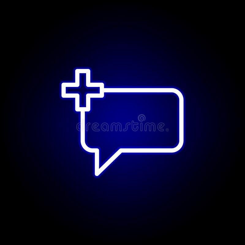 Kommentieren Sie, fügen Sie, plus Ikone in der Neonart hinzu Kann f?r Netz, Logo, mobiler App, UI, UX verwendet werden vektor abbildung