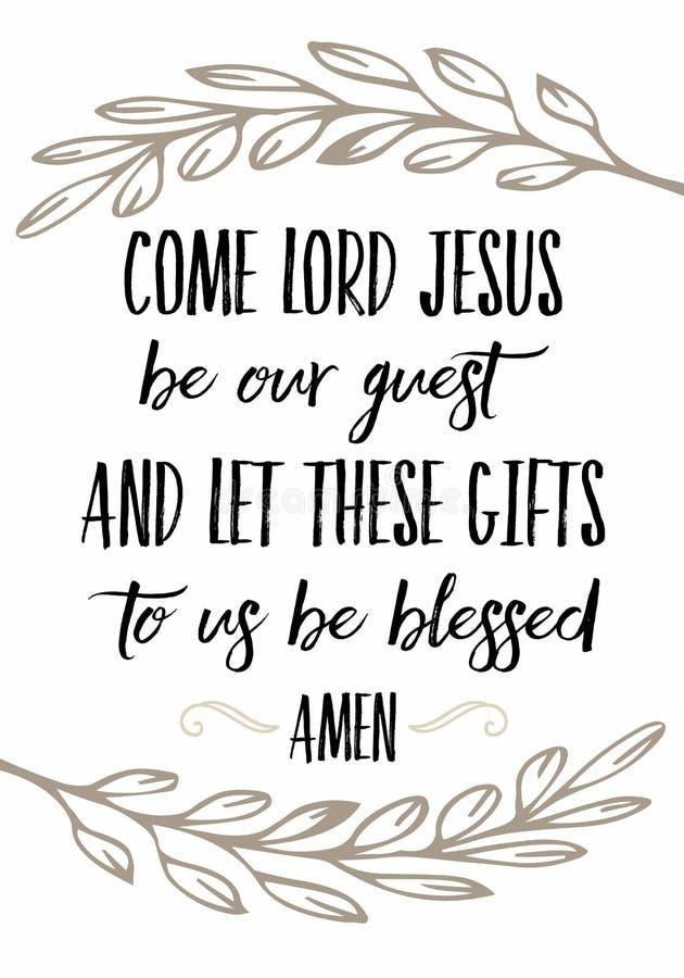 Kommer Lord Jesus är vår gäst lät denna mat till oss välsignas vektor illustrationer