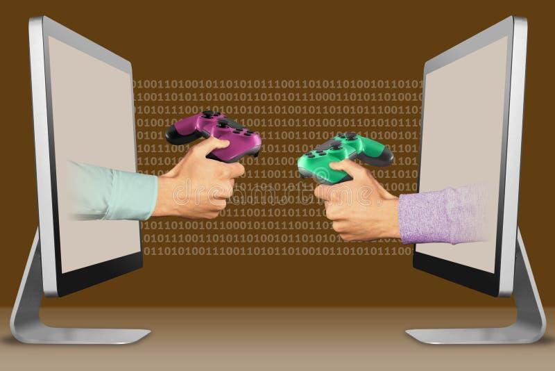 Kommersbegrepp, två händer från bärbara datorer modigt block och lekblock illustration 3d royaltyfri illustrationer
