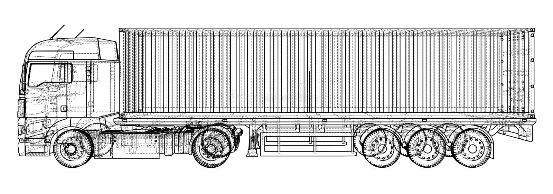 kommersiell detaljerad hög halv lastbilwhite abstrakt teckning Tråd-ram EPS10 formaterar Vektor som skapas av 3d vektor illustrationer